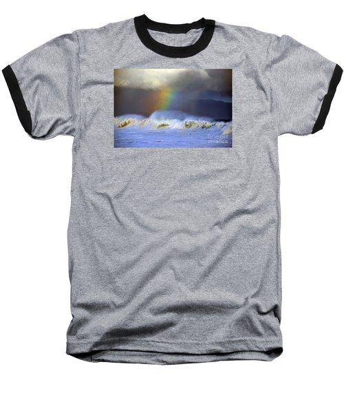 Rainbow On The Banzai Pipeline At The North Shore Of Oahu Baseball T-Shirt by Aloha Art