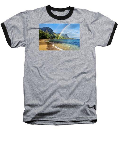 Rainbow Over Haena Beach Baseball T-Shirt by M Swiet Productions