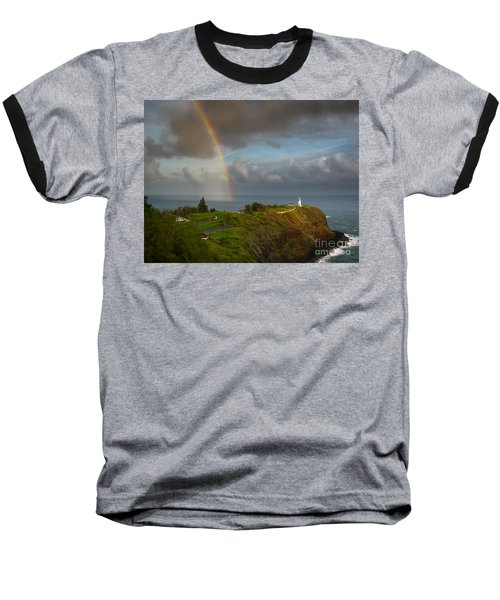 Rainbow Over Kilauea Lighthouse On Kauai Baseball T-Shirt
