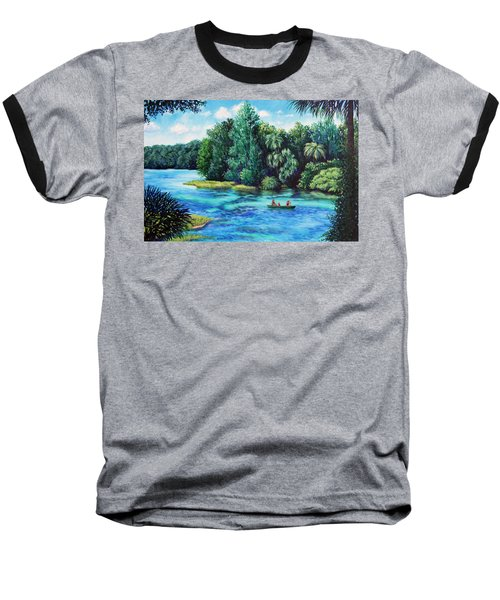 Baseball T-Shirt featuring the painting Rainbow River At Rainbow Springs Florida by Penny Birch-Williams