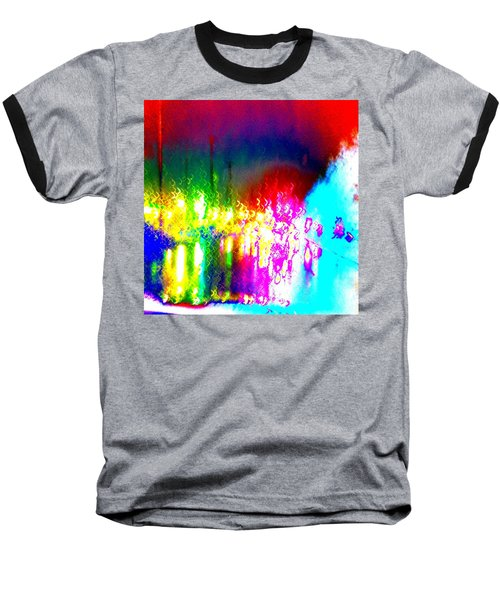 Rainbow Splash Abstract Baseball T-Shirt by Marianne Dow