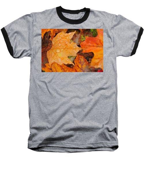 Raindrops On Fallen Maple Leaf Baseball T-Shirt