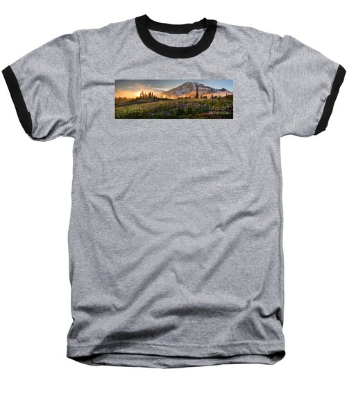 Rainier Golden Light Sunset Meadows Baseball T-Shirt by Mike Reid