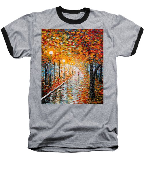 Baseball T-Shirt featuring the painting Rainy Autumn Day Palette Knife Original by Georgeta  Blanaru