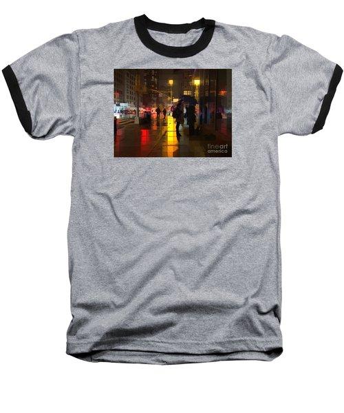 Rainy Night New York Baseball T-Shirt by Miriam Danar