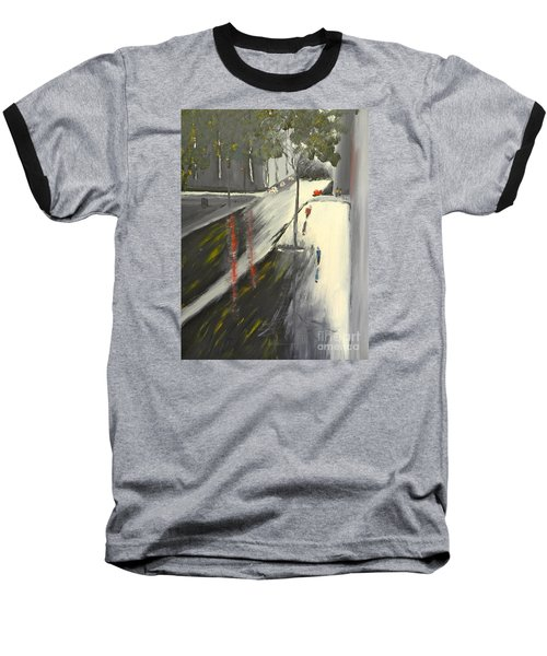 Baseball T-Shirt featuring the painting Rainy Street In Melbourne by Pamela  Meredith