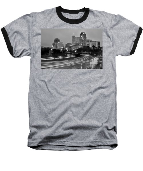 Baseball T-Shirt featuring the photograph Raleigh Skyline At Dusk Evening Black And White Bw Evening Panorama North Carolina Nc by Jon Holiday