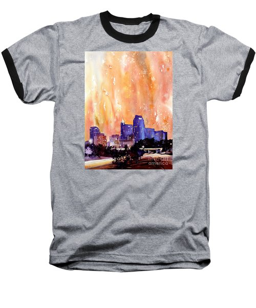 Raligh Skyline Sunset Baseball T-Shirt by Ryan Fox