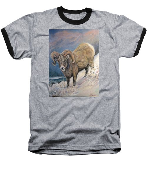 Baseball T-Shirt featuring the painting Ram In The Snow by Donna Tucker