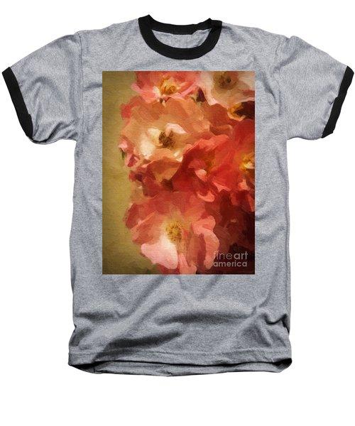 Baseball T-Shirt featuring the digital art Ramblin Rose Memories by Lianne Schneider
