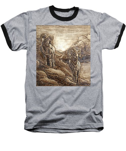 Baseball T-Shirt featuring the relief Rams Relief by Wendy McKennon