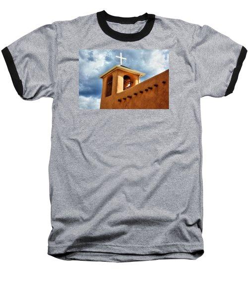 Rancho De Taos Bell Tower And Cross Baseball T-Shirt by Lanita Williams