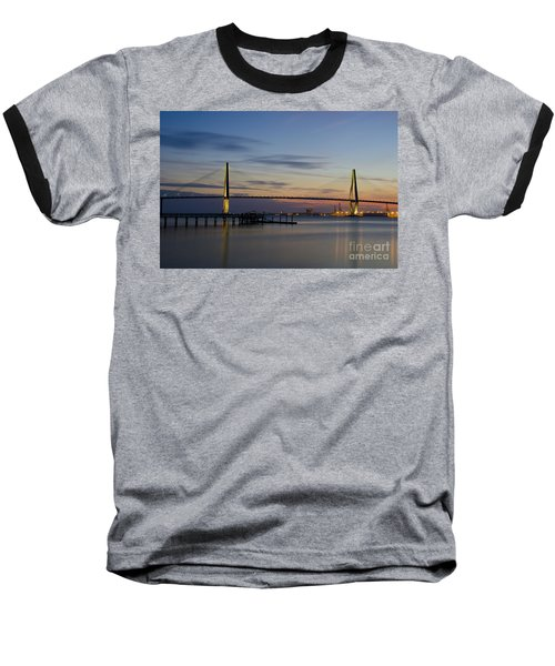 Baseball T-Shirt featuring the photograph Ravenel Bridge Nightfall by Dale Powell