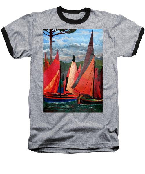 Baseball T-Shirt featuring the painting Ravenna Regatta by Tracey Harrington-Simpson