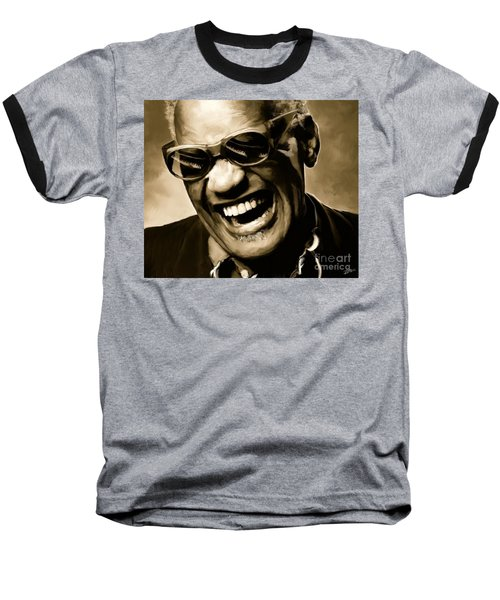 Ray Charles - Portrait Baseball T-Shirt by Paul Tagliamonte