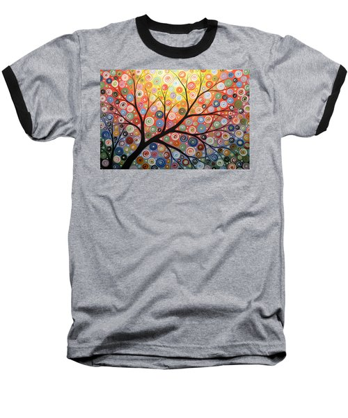 Reaching For The Light Baseball T-Shirt by Amy Giacomelli