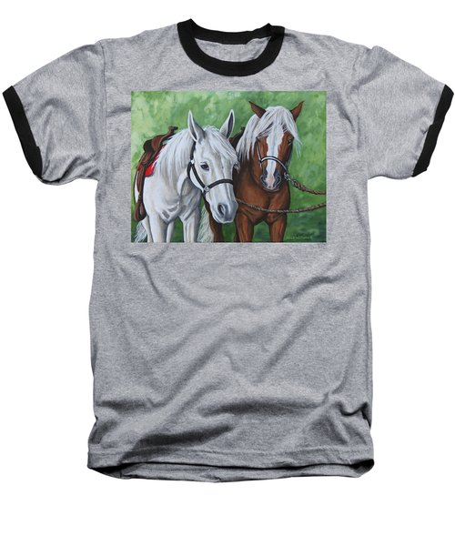 Baseball T-Shirt featuring the painting Ready To Ride by Penny Birch-Williams