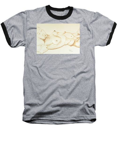 Baseball T-Shirt featuring the drawing Reclining Nude In Walnut Ink by Rand Swift