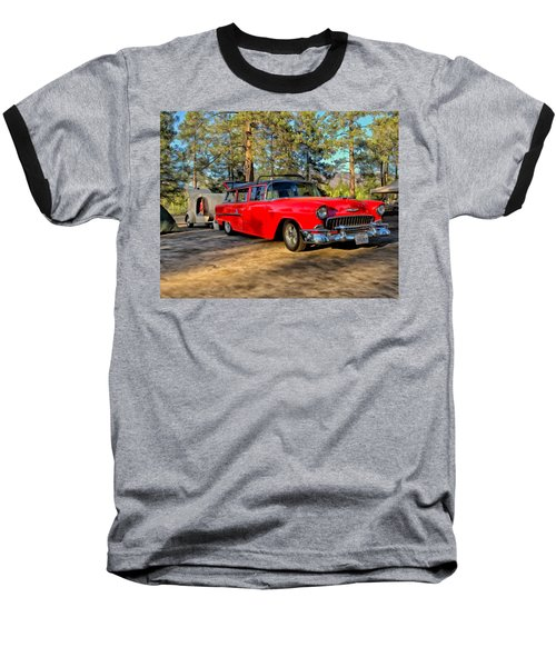 Baseball T-Shirt featuring the painting Red '55 Chevy Wagon by Michael Pickett