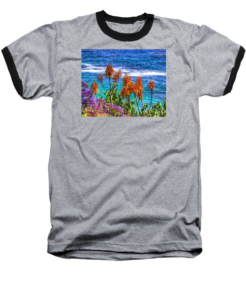 Red Aloe By The Pacific Baseball T-Shirt by Jim Carrell