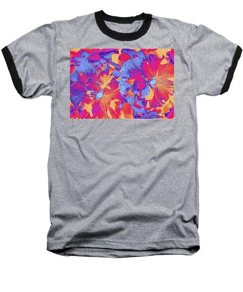 Red And Blue Pansies Pop Art Baseball T-Shirt by Dora Sofia Caputo Photographic Art and Design