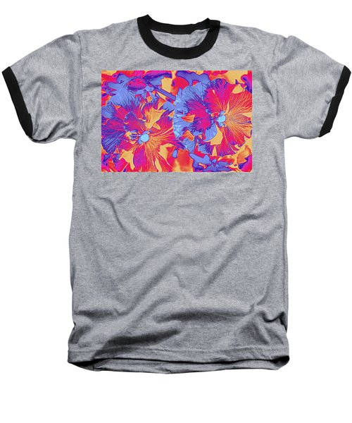 Red And Blue Pansies Pop Art Baseball T-Shirt