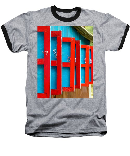 Red And Blue Wooden Shutters Baseball T-Shirt