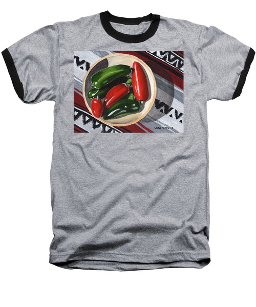 Red And Green Peppers Baseball T-Shirt by Laura Forde