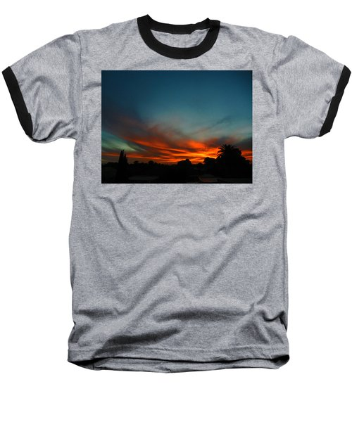 Red And Green Sunset Baseball T-Shirt