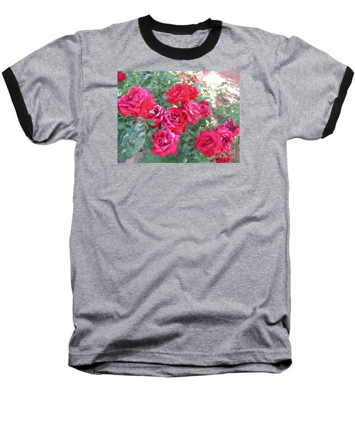 Baseball T-Shirt featuring the photograph Red And Pink Roses by Chrisann Ellis