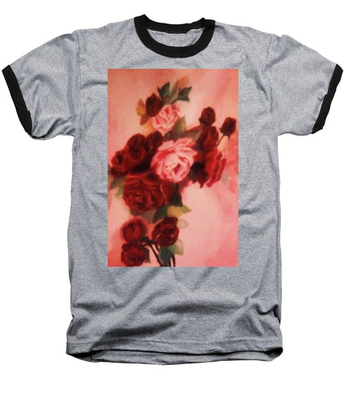 Baseball T-Shirt featuring the painting Red And Pink Roses by Christy Saunders Church