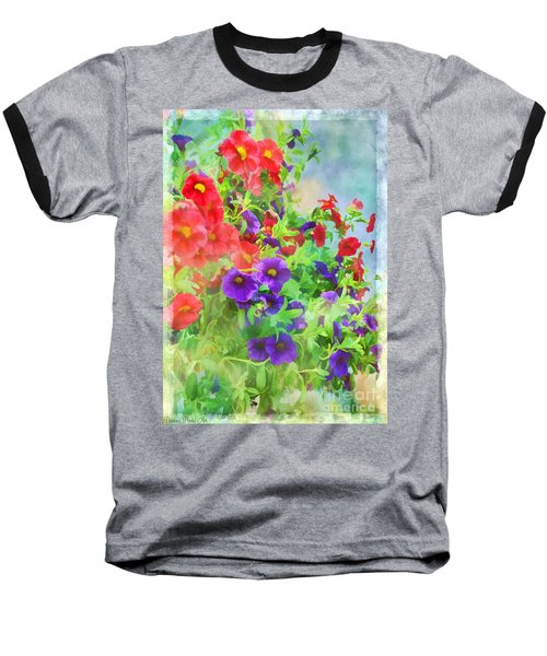 Red And Purple Calibrachoa - Digital Paint I Baseball T-Shirt