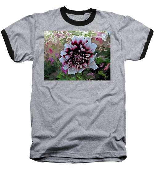 Red And White Dahlia  Baseball T-Shirt