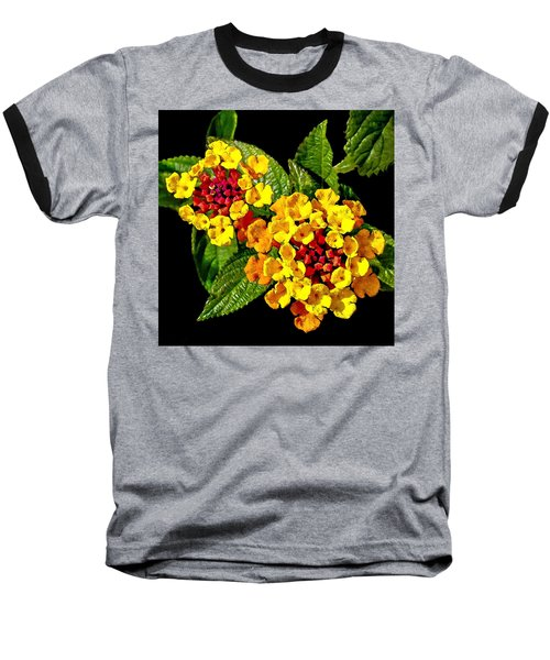 Red And Yellow Lantana Flowers With Green Leaves Baseball T-Shirt