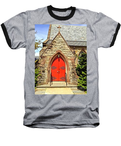 Baseball T-Shirt featuring the photograph Red Arch Church Door 1 by Becky Lupe
