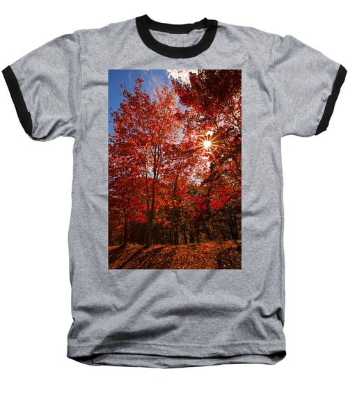 Baseball T-Shirt featuring the photograph Red Autumn Leaves by Jerry Cowart