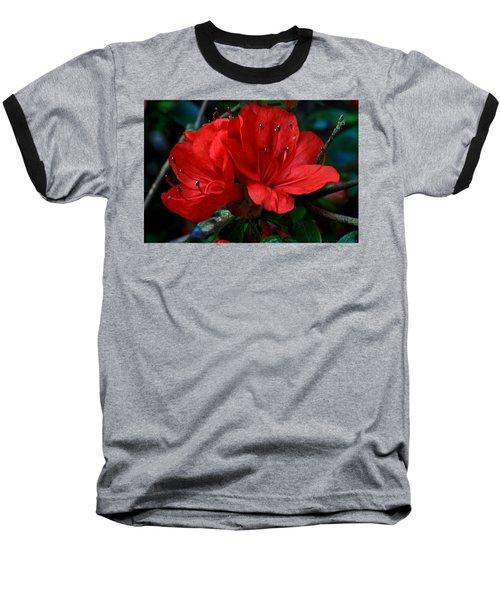 Red Azalea Flower Baseball T-Shirt