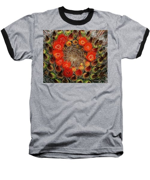 Baseball T-Shirt featuring the photograph Red Barell Cactus Flowers by Tom Janca