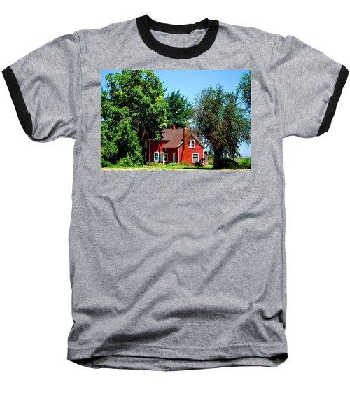 Baseball T-Shirt featuring the photograph Red Barn And Trees by Matt Harang
