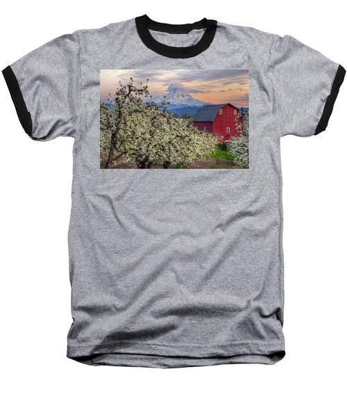 Red Barn In Hood River Pear Orchard Baseball T-Shirt