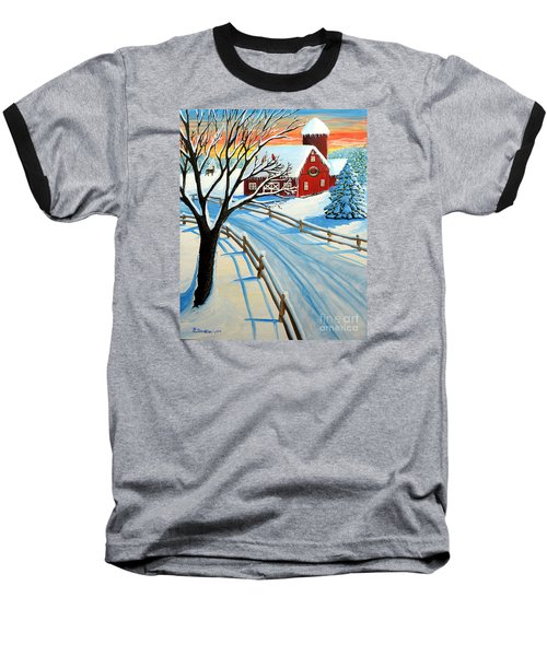 Red Barn In Winter Baseball T-Shirt by Patricia L Davidson