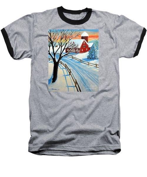Red Barn In Winter Baseball T-Shirt