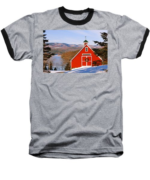 Red Barn On Newfound Lake Baseball T-Shirt