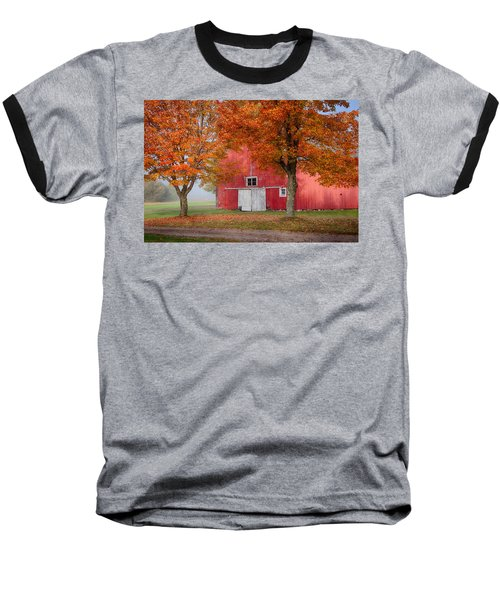 Baseball T-Shirt featuring the photograph Red Barn With White Barn Door by Jeff Folger