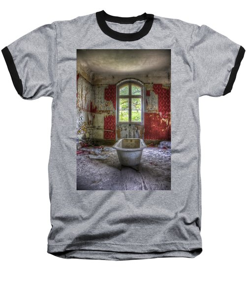 Red Bathroom Baseball T-Shirt by Nathan Wright