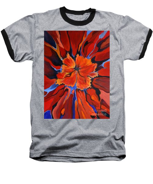 Red Bloom Baseball T-Shirt by Alison Caltrider