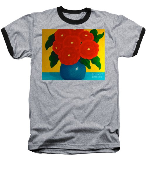 Red Bouquet Baseball T-Shirt by Anita Lewis