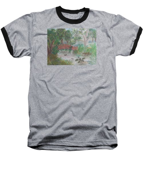 Red Bridge At Wollongong Botanical Gardens Baseball T-Shirt