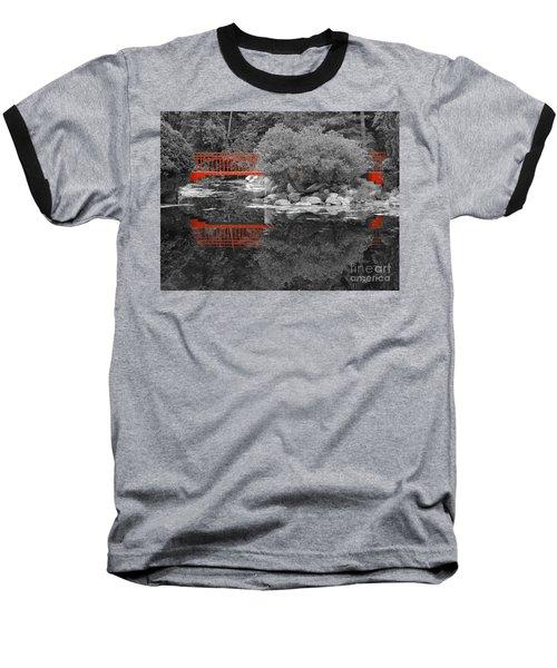 Red Bridge Black And White Baseball T-Shirt