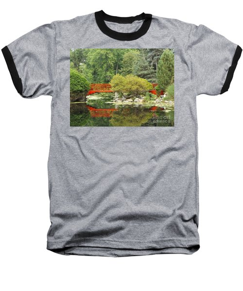 Red Bridge Reflection In A Pond Baseball T-Shirt